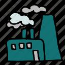 eco, factory, harmful, nature, pipes, smoke icon