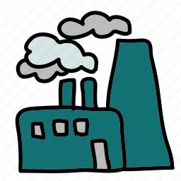 eco, factory, harmful, nature, pipes, smoke icon