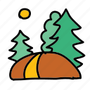 eco, forest, hike, nature, path, sun, walk icon