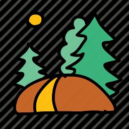 eco, forest, hike, nature, path, sun, walk icon