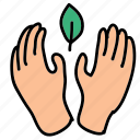 eco, guardar, hands, leaf, metaphor, nature, preserve, save icon