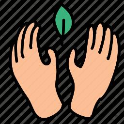 eco, guardar, hands, leaf, metaphor, nature, preserve, save icon
