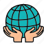 eco, guardar, hands, metaphor, nature, save, world icon
