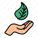 eco, hand, leaf, metaphor, nature, preserve, save icon
