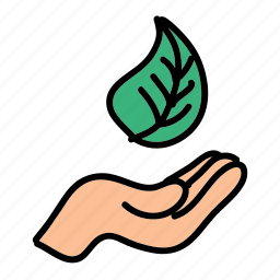 eco, guardar, hand, leaf, metaphor, nature, preserve, save icon