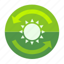 day, ecofarm, forecast, moon, plant, sun, sunny icon