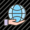 earth, earth on hand, eco, globe icon