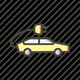 eco car, electric car icon
