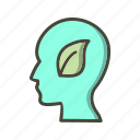 eco mind, head, leaf, mind icon