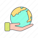 earth, earth on hand, eco, globe icon
