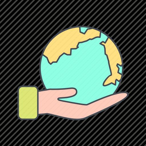 earth, eco, globe, hand icon