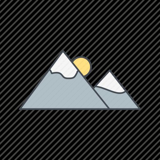 gallery, mountain, nature, sunset icon