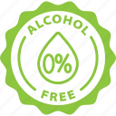 alcohol free, label, no alcohol, tag icon