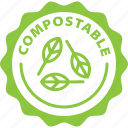 biodegradable, compostable, ecology, green, label, tag icon