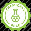 chemicals free, label, bio, tag icon