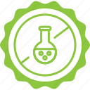 chemicals free, label, silicone free, tag icon