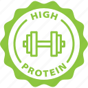fibre, fitness, food, high, keto, label, protein icon