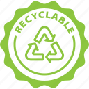 eco, badge, tag, recyclable, label, green, nature icon