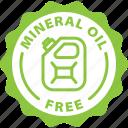 free, mineral oil free, petroleum free, tag icon