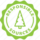 sources, responsible, eco, wood, forest, paper, label icon