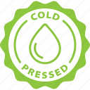cold pressed, fresh, fruit, healthy, juice, label, oils icon