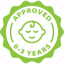 approved, baby friendly, cosmetics, food, kids, label, toddler icon