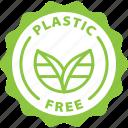 plastic free, label, no plastics, eco, tag icon
