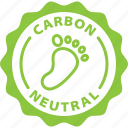 neutral, ecology, eco, carbon, footprint, label, nature icon