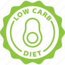 diet, food, healthy, ketogenic, kitchen, label, low carb icon
