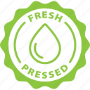 cold pressed, fresh, fruit, juice, label, pressed, tag icon