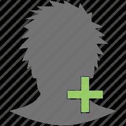 add, head, new, plus, profile, user icon