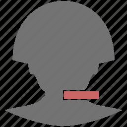 cancel, close, delete, head, minus, remove, user icon