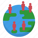 demographic, density, distribuiton, global, population icon