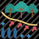 deforest, effect, population, trespass, urbanisation icon