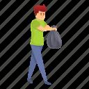 bag, boy, garbage, person, take, woman icon