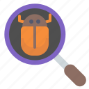 bug, experiment, investigate, science, search, zoom icon