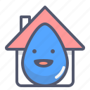 cloud, drop, house, rain, storm, weather icon