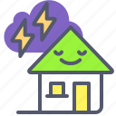bio, eco, green, home, house, leaf, thunder icon