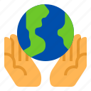 ecology, environment, hand, planet, save icon