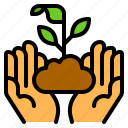 conservation, environment, hand, nature, plant icon