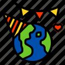 celebration, earth, ecology, environment, happy icon