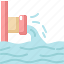 ecology, environment, nature, pipe, waste, water icon