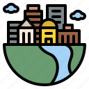 building, city, earth, ecology icon