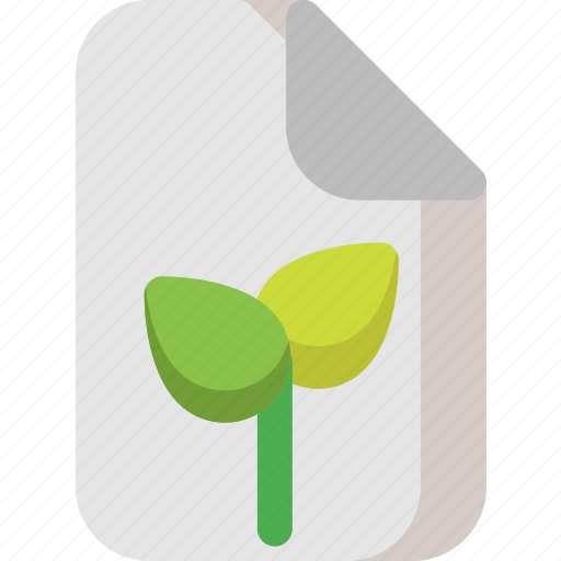 document, file, leaves, page, paper, plant, text icon