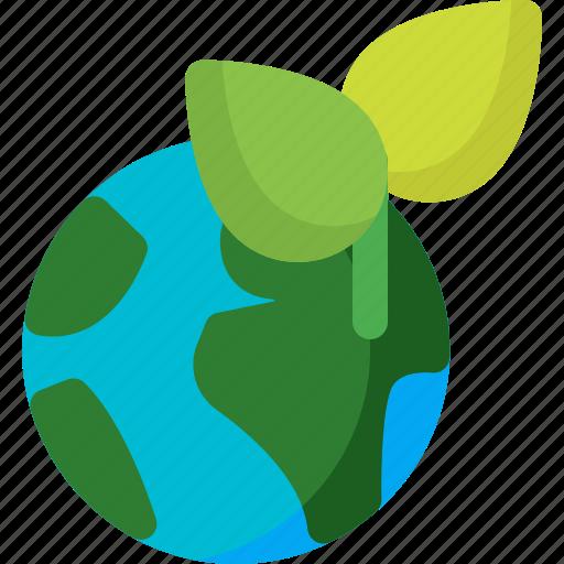 earth, global, globe, leaf, planet, plant, world icon