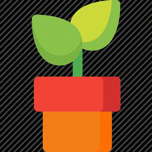 ecology, gardening, green, leaves, nature, plant, vase icon