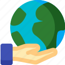 earth, gesture, global, globe, hand, planet, world icon