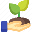 ecology, environment, green, hand, nature, plant, tree icon