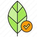 eco, ecology, environment, leaf, nature, tick icon