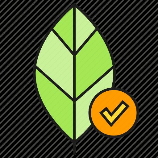 eco, ecology, environment, leaf, nature, tick icon